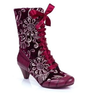 IRREGULAR CHOICE Lady Victoria Burgundy Floral Boots