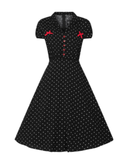 HELL BUNNY Allie Dress Black Polka Dot