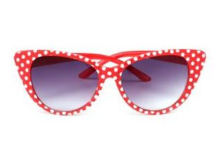 Retro Sunglasses Red With White Polka Cat Eye
