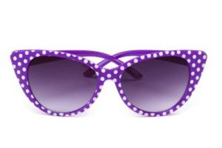 Retro Sunglasses Purple With White Polkadots Cat Eye