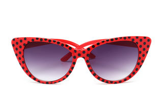 Retro Sunglasses Red With Black Polkas Cat Eye
