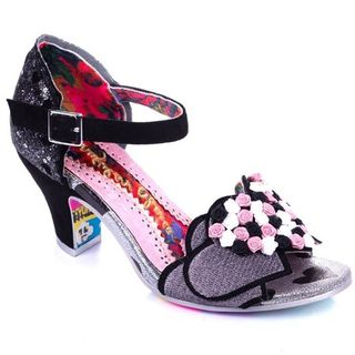 IRREGULAR CHOICE Darling Bud Peep Toe Sandels In Black and Pink