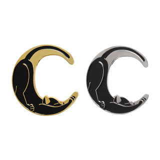 Cat In Moon Pin Gold Or Silver