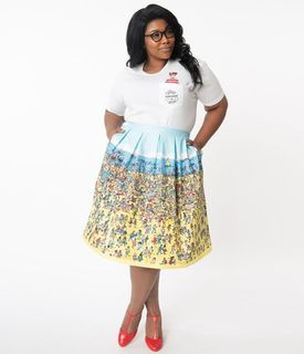 UNIQUE VINTAGE Wheres Waldo x Unique Vintage On The Beach Print Jayne Swing Skirt