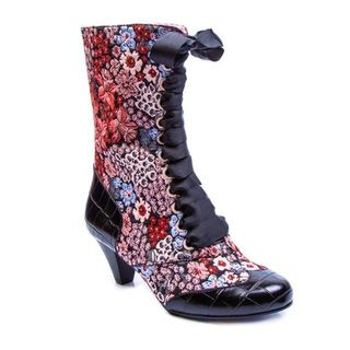 IRREGULAR CHOICE Lady Victoria Black Floral Tapestry Boots