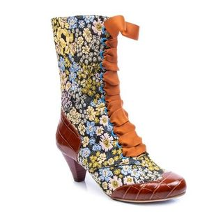 IRREGULAR CHOICE Lady Victoria Brown Floral Tapestry Boots