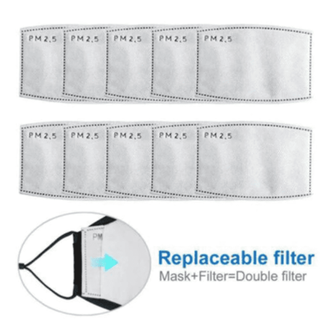 Face Mask Replacement PM2.5 layer filter insert 10 Pack
