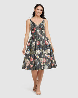 RETROSPEC'D Elizabeth Black Lurex Floral