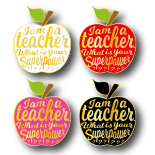 I am A Teacher What's Your Superpower Apple Shaped Pin