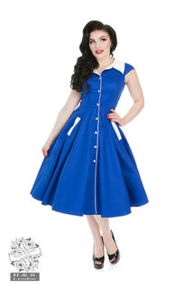 HEARTS & ROSES LONDON Meadow Blue White Swing Dress