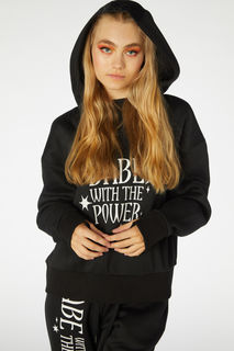 DANGERFIELD Babe With The Power Hoodie Black Last One Size 12