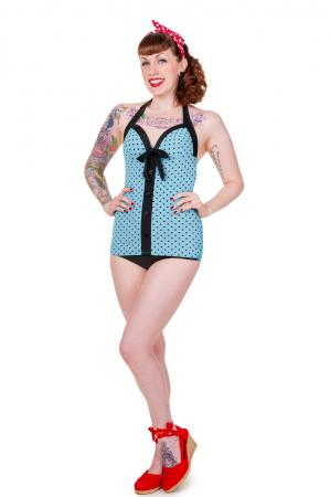 Banned Retro One Piece Blue Polka Dot Swimsuit