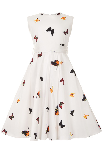 LITTLE LADY VINTAGE White Butterfly Hepburn Dress
