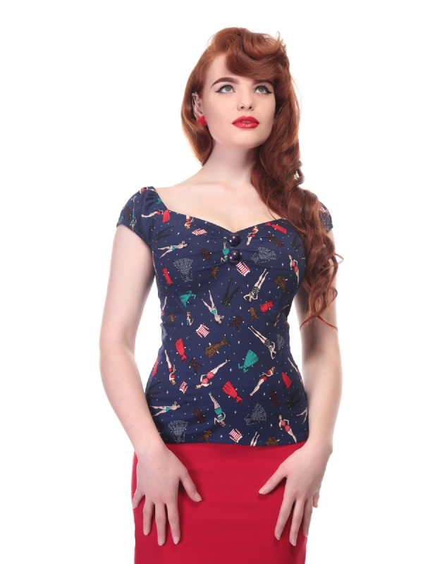 COLLECTIF Dolores Paper Pinup Doll Top Last one size 10