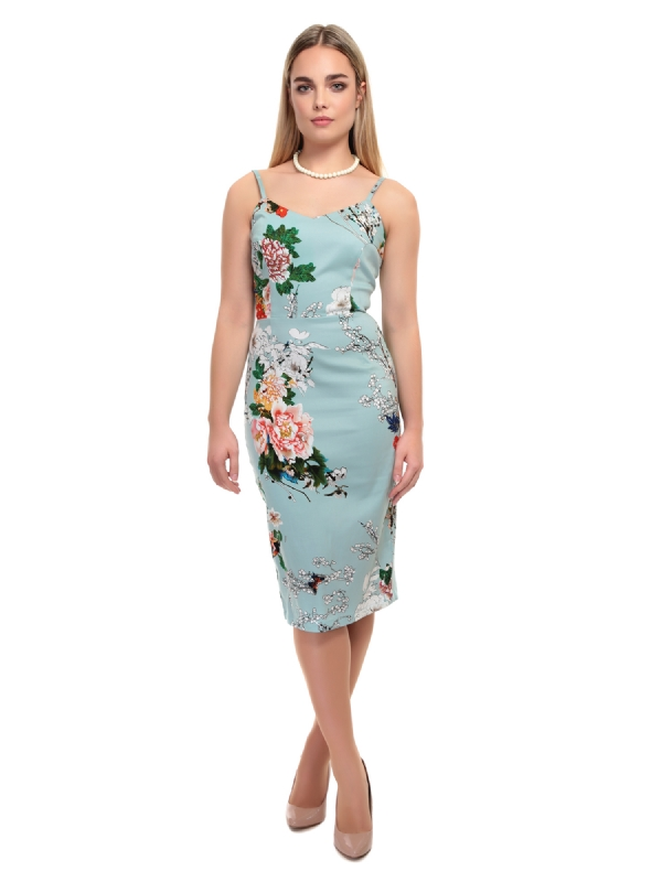 COLLECTIF Cinthia Blossom Print Pencil Dress size 16