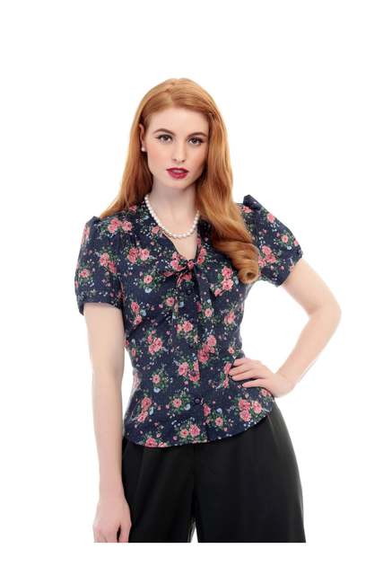 COLLECTIF Vintage Tura 40s Floral Blouse