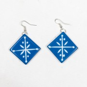 SPLENDETTE French Blue Carved Earrings