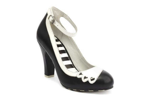 LOLA RAMONA June Hearts Black and Cream Pump