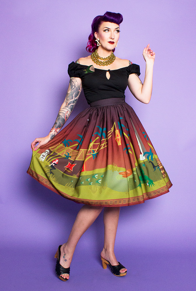 TOBS Monster Tiki Island Novelty Print Gathered Skirt