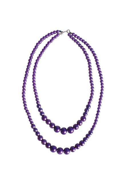 Two Tier Beaded Necklace Purple