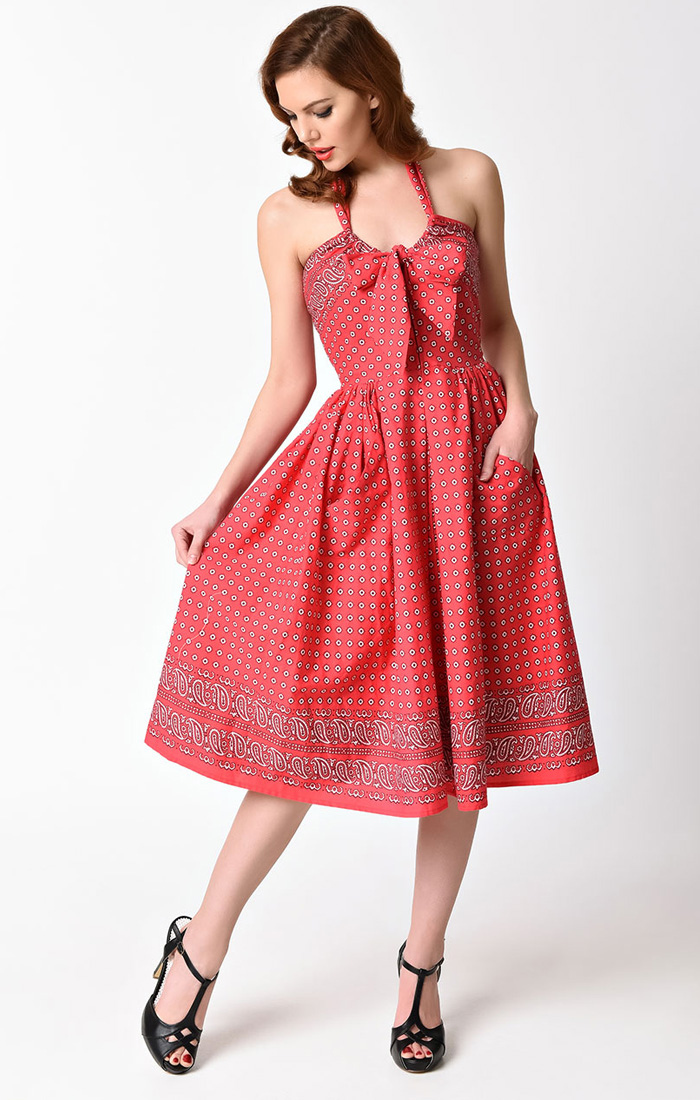 UNIQUE VINTAGE 1950s Style Red Bandana Print Halter Billie Swing Dress