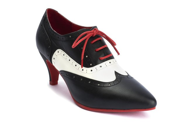 LOLA RAMONA Kitten Black White Red Lace Up Dapper Duet