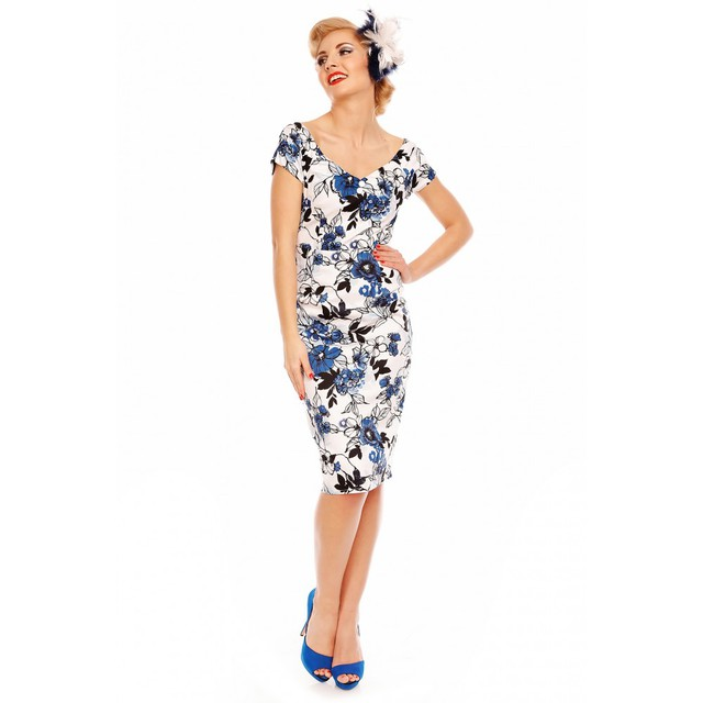 DOLLY and DOTTY Bette Vintage Floral Pencil Dress in White and Blue