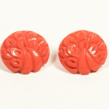 SPLENDETTE Coral Carved Button Clip On Earrings