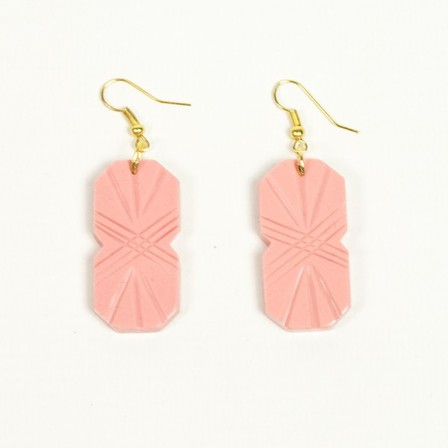 SPLENDETTE Pale Pink Carved Drop Earrings