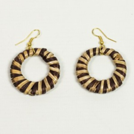 SPLENDETTE Striped Woven Bamboo Tiki Earrings