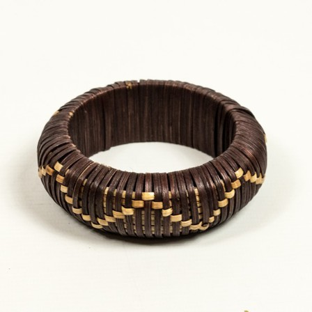 SPLENDETTE Dark Woven Bamboo Zig Zag Bangle
