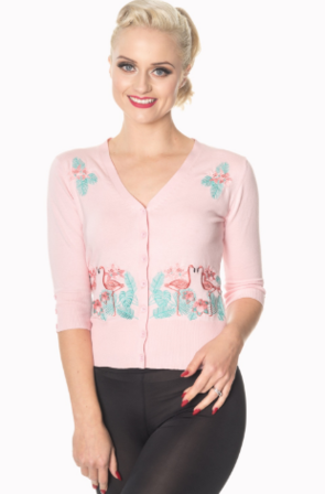 BANNED APPAREL Flickers Pink Flamingo Cardigan Last One Size 12