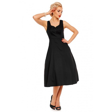 DOLLY and DOTTY Veronica Bow 50s Dress Black Last one size 8