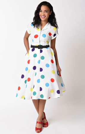 UNIQUE VINTAGE 1950s Style White & Circus Dots Alexis Swing Dress
