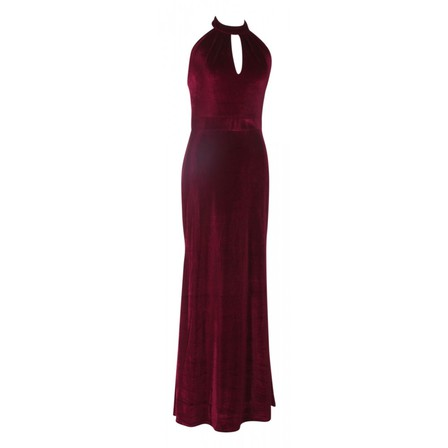 DOLLY and DOTTY Eleanor Luxurious Velvet Halterneck Burgundy Dress