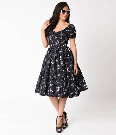 UNIQUE VINTAGE 1950s black Prowling Cat Print Draper Swing Dress Last One Size 16
