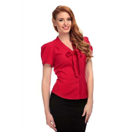 COLLECTIF Tura Plain Blouse Red Last One Size 20