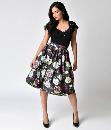 UNIQUE VINTAGE Janie Bryant for Unique Vintage Black and Mulitcolour Roses High Waisted Swing Skirt