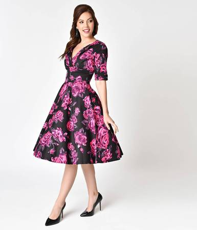 UNIQUE VINTAGE Black and Pink Floral Delores Swing Dress with Sleeves