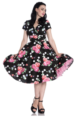 HELL BUNNY Collerette Black and Pink Floral Dress Last One Size 10