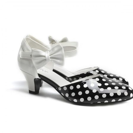 SUGARPOP Spotted Black and White Kitten Heels