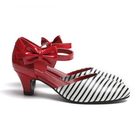 SUGARPOP Jailhouse Rock Red, Black, White Kitten Heels