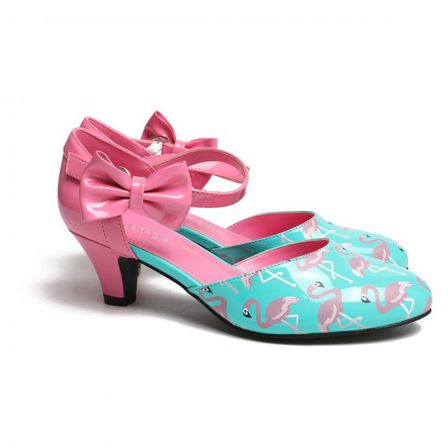 SUGARPOP Mingo Flamingo Pink and Teal Kitten Heels