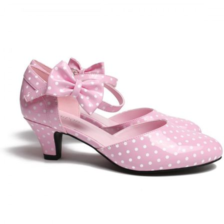 SUGARPOP High Tea Pink and White Polka Kitten Heels