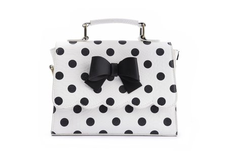 LOLA RAMONA Stella Statement White and Black Polka Handbag