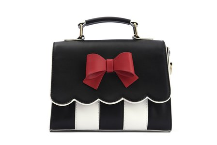 LOLA RAMONA Stella Sweetheart Black White and Red Bow Handbag