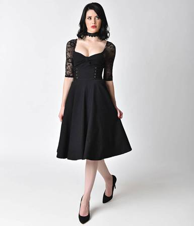 UNIQUE VINTAGE 1950s Style Black Stretch & Lace Sleeve Crypt Swing Dress