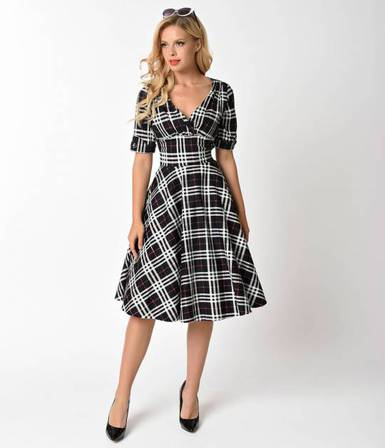 4eb702c4e27ae3 UNIQUE VINTAGE 1950s Black and White Plaid Delores Swing Dress with Sleeves