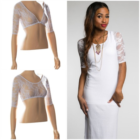 SLEEVEY WONDERS Basic Half Sleeve White Lace