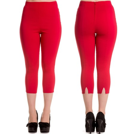HELL BUNNY Tina Capri Pants Red Last One Size 8